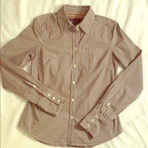 American Eagle Gingham Button LS Shirt Brown Fall